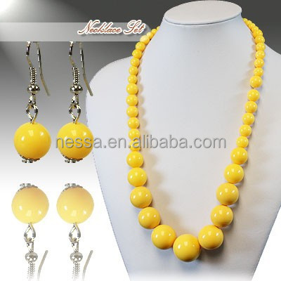 Fashion acrylic bead necklace costume jewelry set NSNK-28952