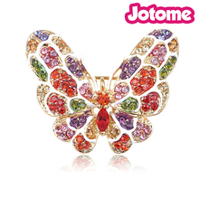 100pcs a lot Crystal Elements Colorful Rainbow Pride Mosaic Butterfly Pin Brooch
