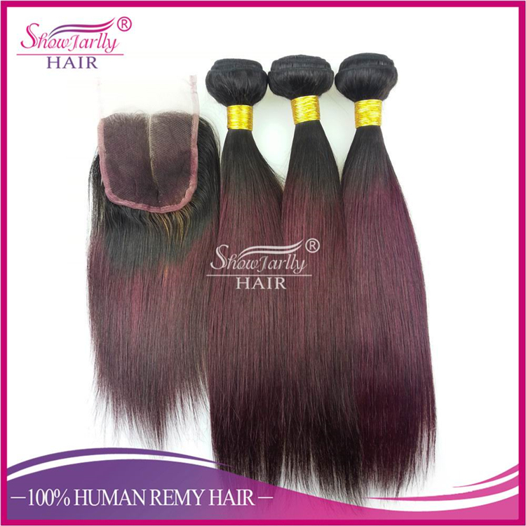 7A Brazilian Virgin Hair Straight 1b99j Ombre Color Lace Closure 10-20 Inch Ombre Virgin Hair Extesnions