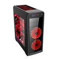 Support Dual PSU ATX Mid Tower Black Case with Window Side Panel