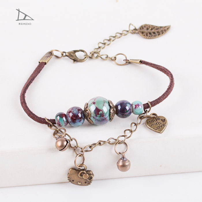 Hot sale lovely Hello Kitty animal metal ceramic jewelry accessories bracelet