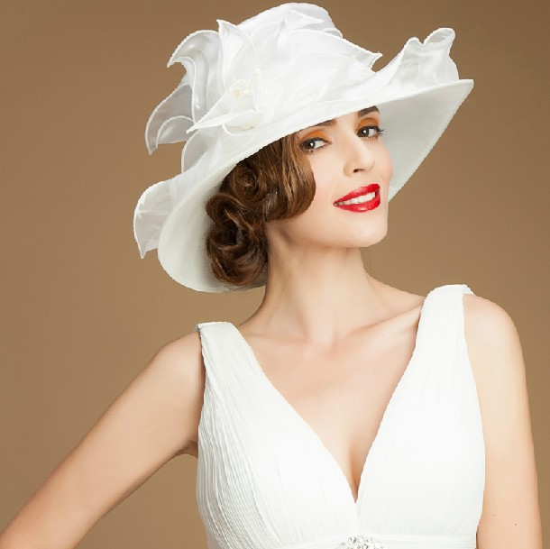 Women Evening Dress Hat Floral Ladies Wide Brim Hat sinamay white church hats