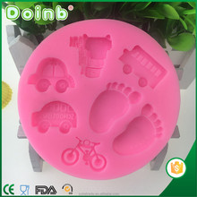 Doinb 2017 factory price 3D car footprint shaped fondant silicone molds for cake decorating baking tools ST2817