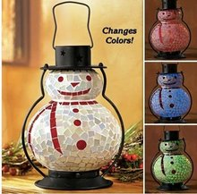 Snowman Mosaic Glass Hurricane Candle Holder & Lantern For Christmas