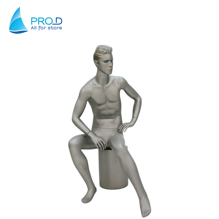 Hot Sale Fashion Man Skin Body Male Sitting Mannequin With Glasses