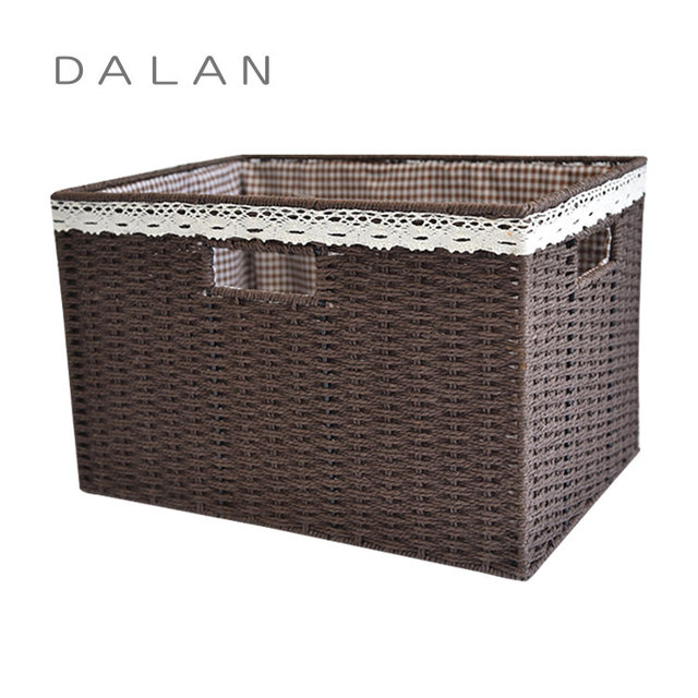 Best new popular paper cord woven iron frame basket with lining