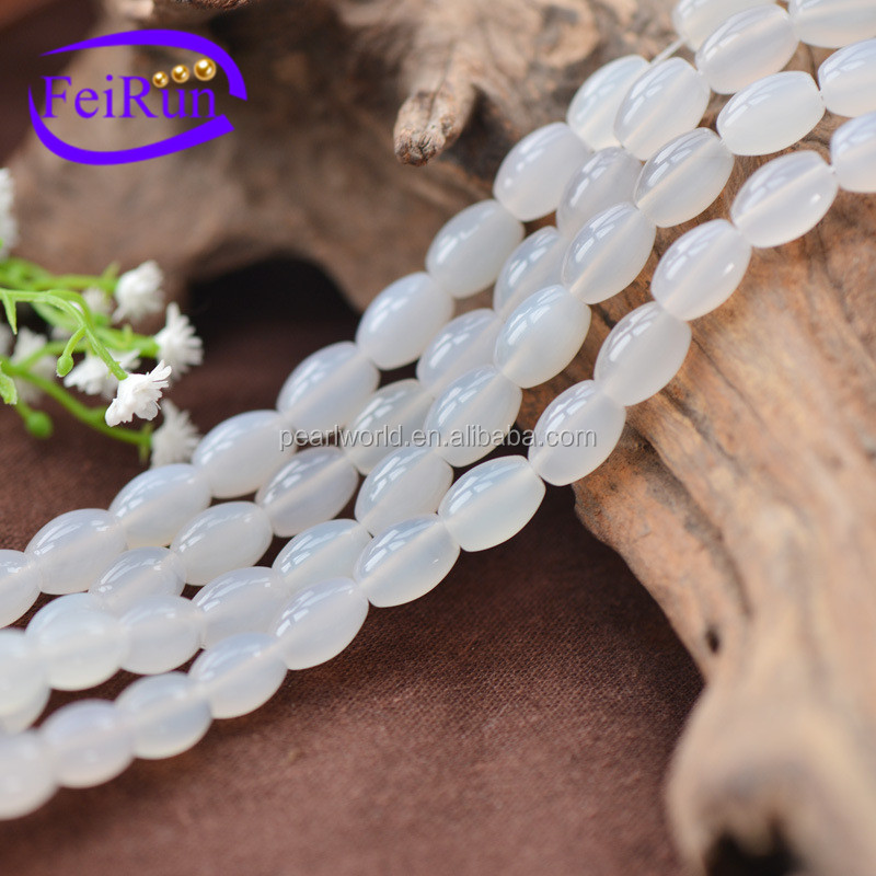 FEIRUN 8*12mm white natural loose gemstone for sale, agate tube beads, agate gemstone