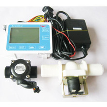 LCD Water Liquid Flow Sensor Digital Display Flowmeter Quantitative Controller