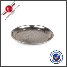 Decorative Thai-Style Stainless Steel Round Serving Tray