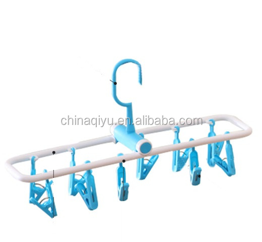 10 clips plastic socks underware hanger foldable laundry hanger