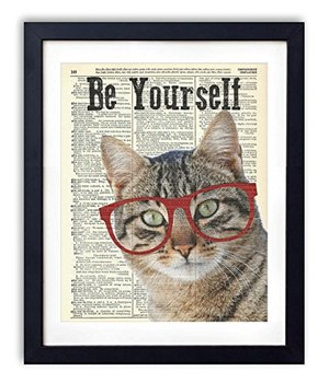 "Cat With Glasses ""Be Yourself"" Upcycled Vintage Dictionary Art Print 8x10"