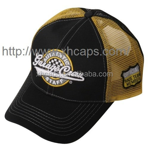 cotton mesh caps with logo on front and side
