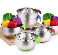 Stainless steel mixing bowls for kitchen with blue handle & spout