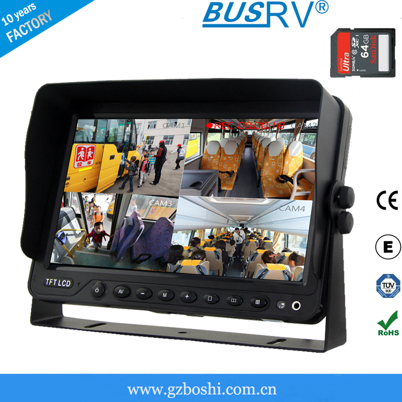 7inch hd car dvr built-in lcd monitor with five video inputs and support 64G sd card