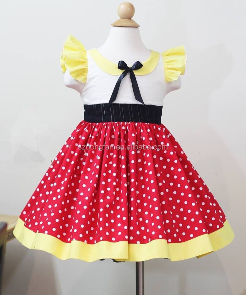 Wholesale Children's Boutique Clothing Girls Red Polk Dots Mini Cute Mouse Dress
