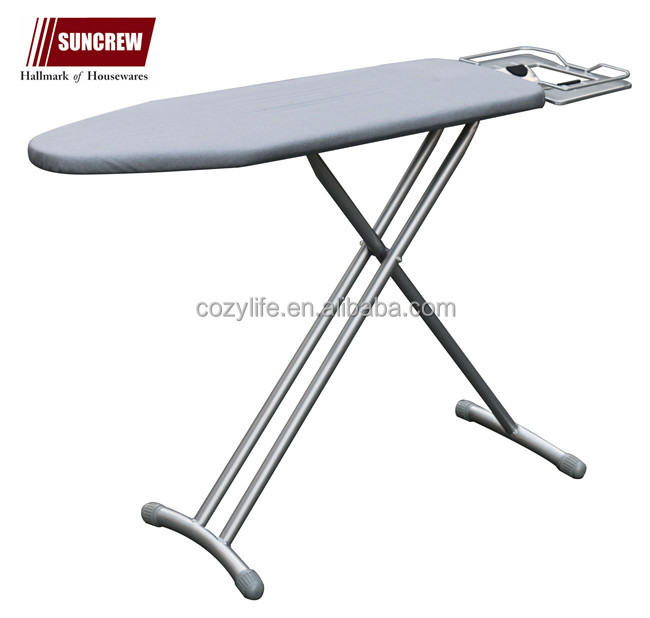 Height adjustable heavy duty metal mesh board with cotton cover round steel tube folding ironing board