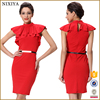 Venetian Fabric Plus Size Lotus Leaf Design Wrap Red Dresses