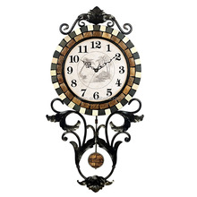 Silent Quartz Black metal frame/natural shell stone old pendulum wall clock