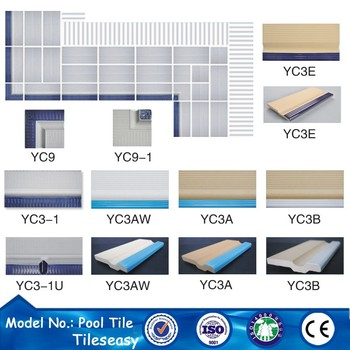 blue ceramic border tiles designs for swim pool projects