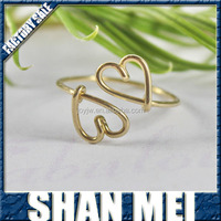 Double Heart Ring - Heart To Heart Love And Friendship Symbol 14K Gold Filled Wire