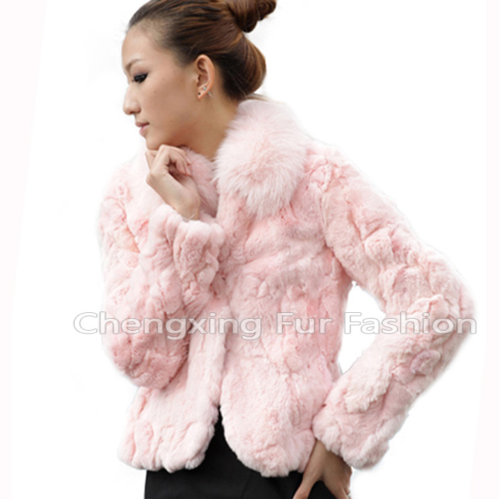 CX-G-A-70 Ladies Real Rex Rabbit Fur With Fox Fur Collar Winter Leather Jacket
