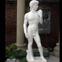 Famous Italy statue natual stone white marble David figure statue for house garden decoration