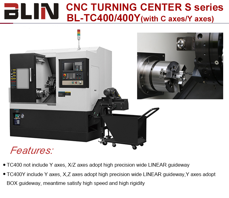 CNC TURNING CENTER TAIWAN Technology Slant Bed CNC Turning Lathe Center with C axis/Y axis(BL-TC400/400Y)