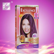 Permanent dark brown purple hair color