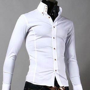 Men 39 s slim fit 3 button solid shirts white for Three button collar shirts