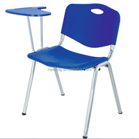 Cheap comfortable fashion design convenient colorful creative plastic student study chair with writting pad metal meeting room