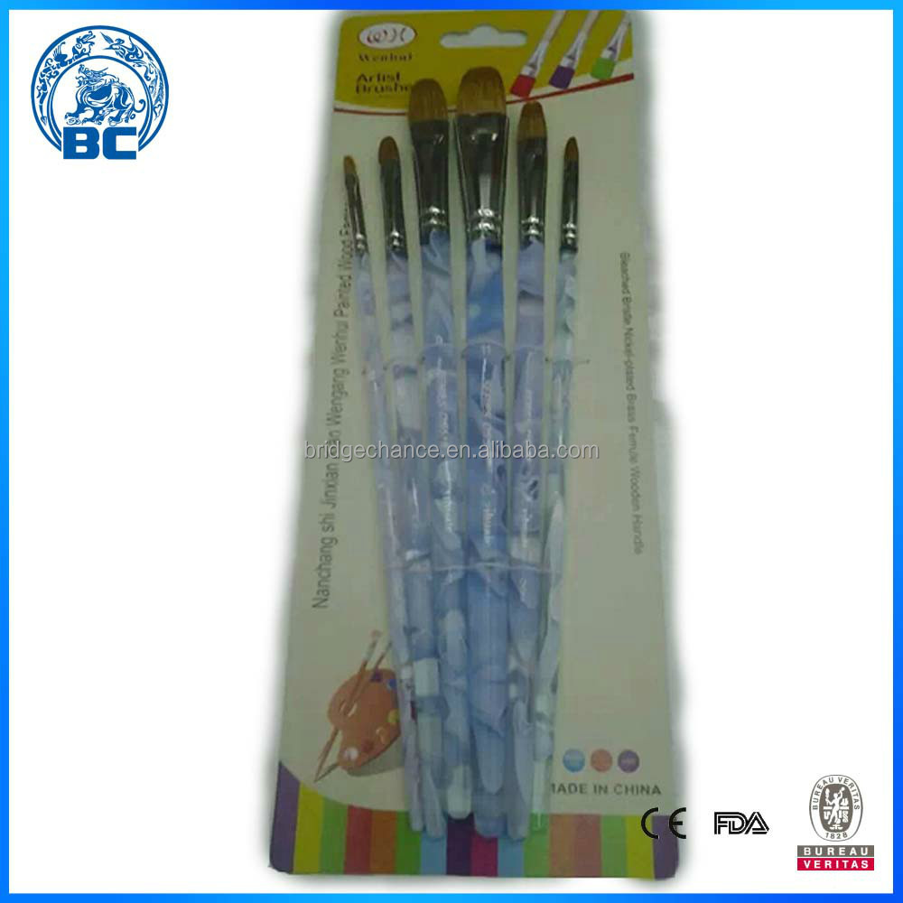 Bulk Wholesale Art Supplies Cheap Nylon Paint Brush With Acrylic Brush Handle