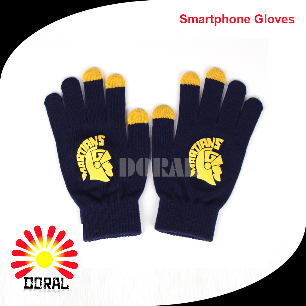 2017 Custom winter Touchscreen Fingers gloves acrylic knit gloves