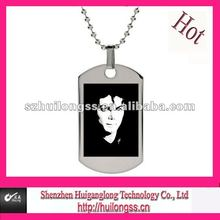Customized steel painting cameo pendant in memory of Michael Jackson(MJ) & mens necklace
