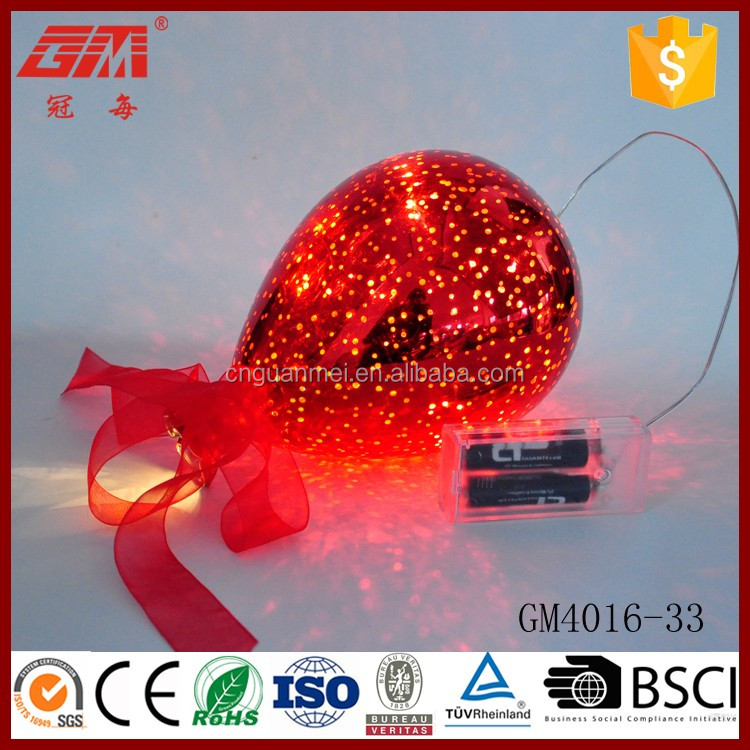 Electroplating red glass balloon led light with 2*AA battery