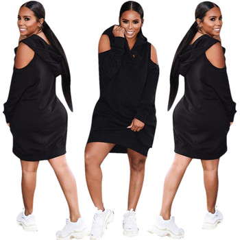 FNDN8164 women fashion black off shoulder hooded hoodie dress FNDN8164