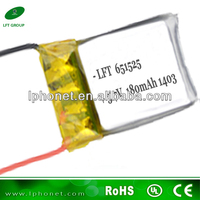 li-polymer 651525 lithium polymer battery 3.7v with 180mah lipo battery for rc helicopter