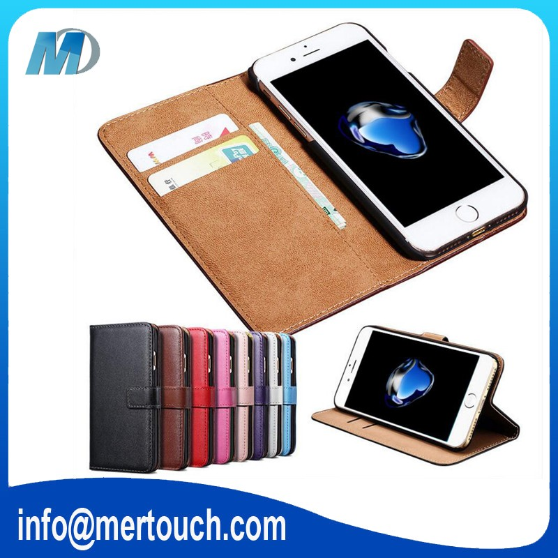 Retro Real leather mobile phone <strong>case</strong> for iPhone 7 wallet 2 card holder flip cover <strong>case</strong> mobile phone, leather wallet <strong>case</strong>