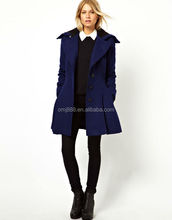 fit and flare shape double breasted design button fastenings knee over coat