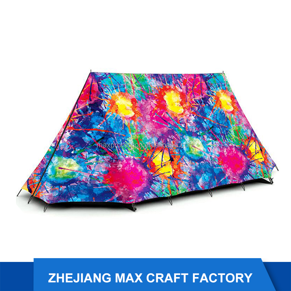 Amazon Hot Sell Specious 3D Printing A-Frame Ridge Waterproof Camping Tent Family