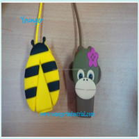 Pocketbac Monkey and Bee Silicone Hand Sanitizer Holder