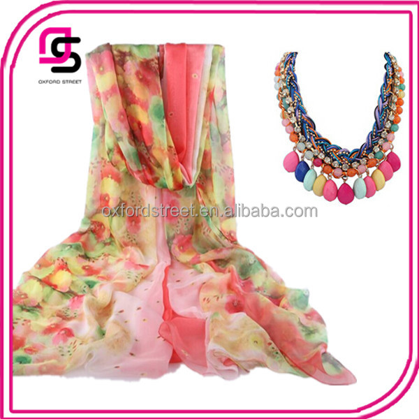 Fashion printing flower scarf pashmina scarf chiffon scarf hot sell
