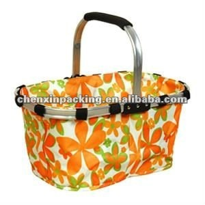 polyester foldable shopping basket with aluminum frame
