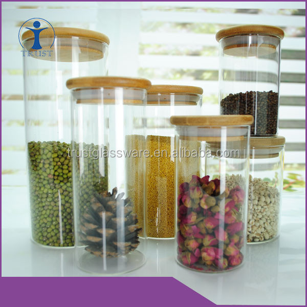 Handmade Top quality Kitchenware Borosilicate Glass food jars with wood lids