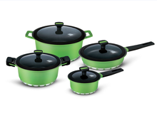 4pcs enamel Combined pot two strait pot and two sauce pan with green color