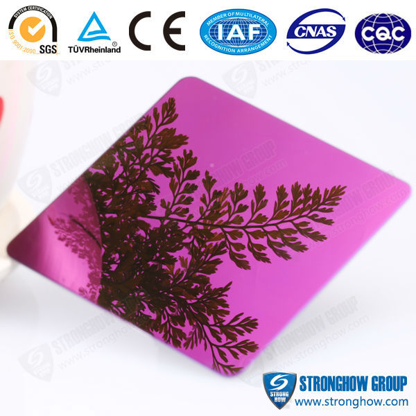 mirror finish violet gold colored Stainless Steel Wall Panel For Home Decorative Material