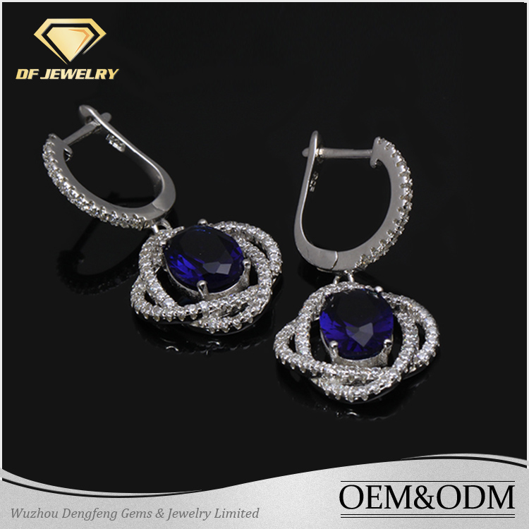 2016 Fashion Design Good Selling Elegant Exquisite Round Sapphire Stone 925 Sterling Silver Dangle Hoop Earrings