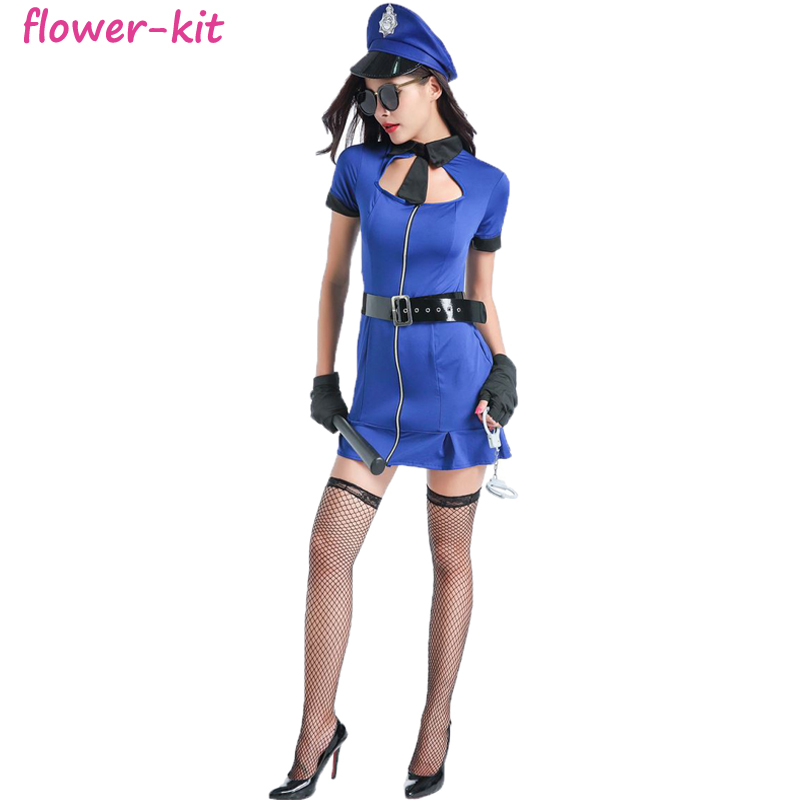 Cheap Sexy Police Officer Costume Uniform Halloween Adult Sexy Cop Cosplay Women