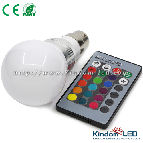 3W LED bulb E14/E27/GU10, remote control RGB LED bulb light
