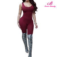 Wholesale Claret One Piece Bodycon Custom Made Jumpsuit