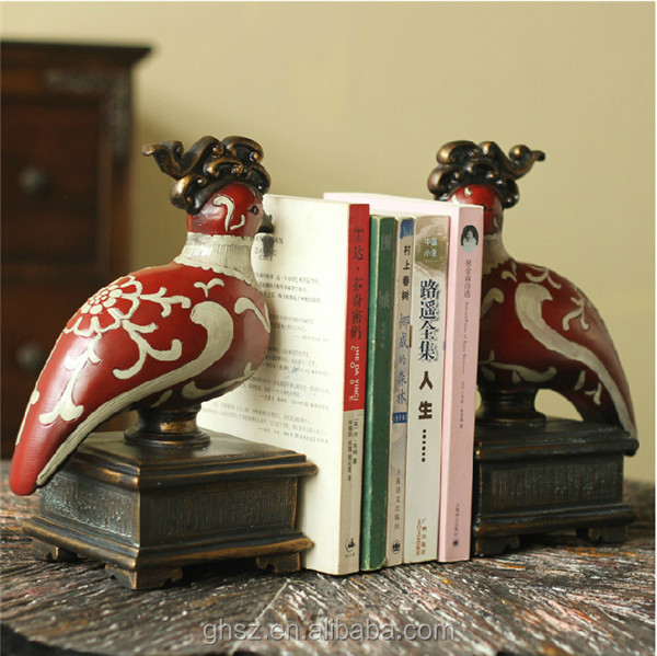 customized study decor resin good luck bird anime unique book ends